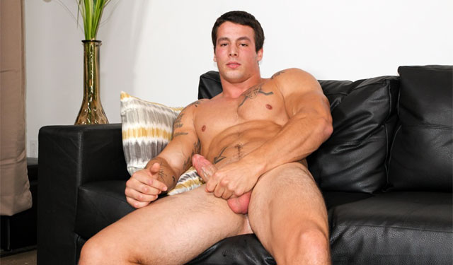 Muscular recruit Ty strokes his meat