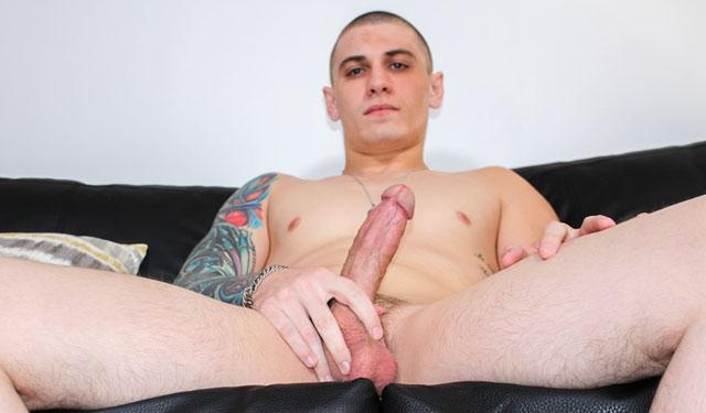 Hot recruit Alex Michaels strokes his hard dick