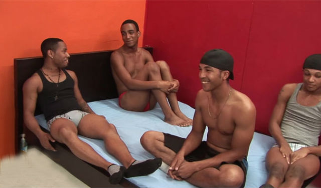 A hot bareback foursome with big cocks