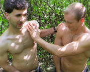 Two hot guys get fucked in the woods for cash