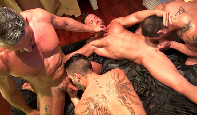 Andy Star gets gangbanged by 3 studs