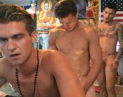 Hot guy enjoys this raw gangbang