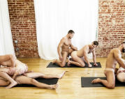 Hot 6 guy orgy at a yoga class