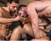 Deep dildo play with Billy, James and Drae
