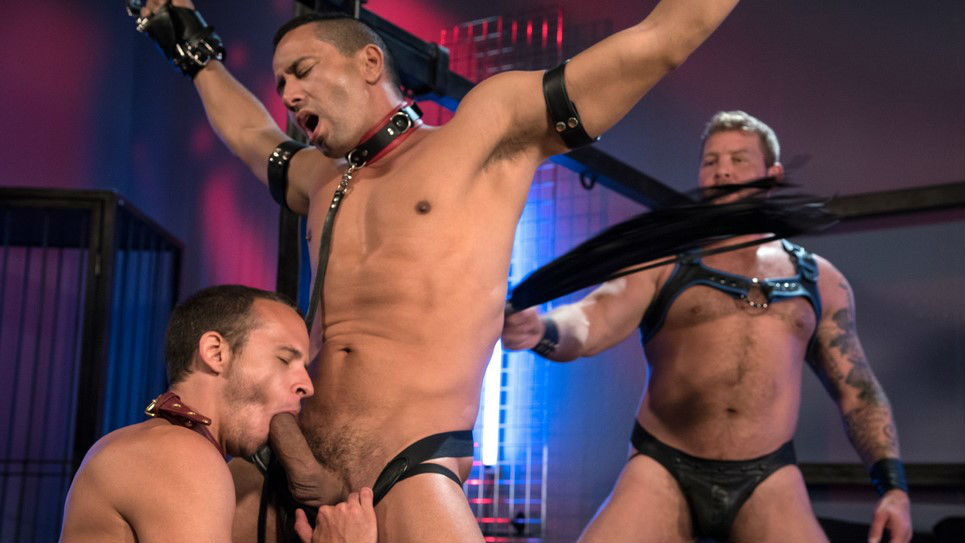Colby has fun with his slaves Nate and Gabriel