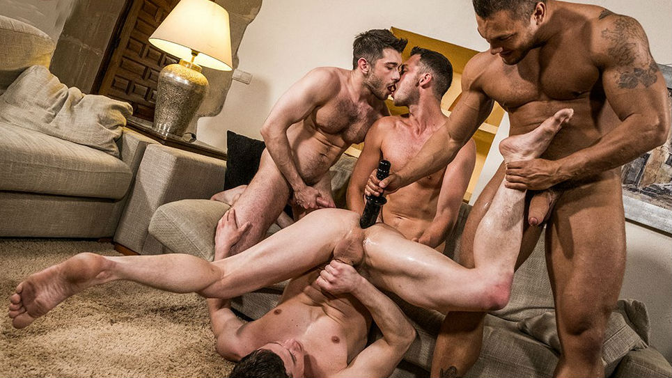 Hot bareback muscle hunk foursome