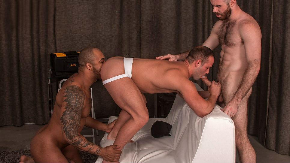 Hot guys Jason Vario, Luke Adams and Matthew Bosch fuck