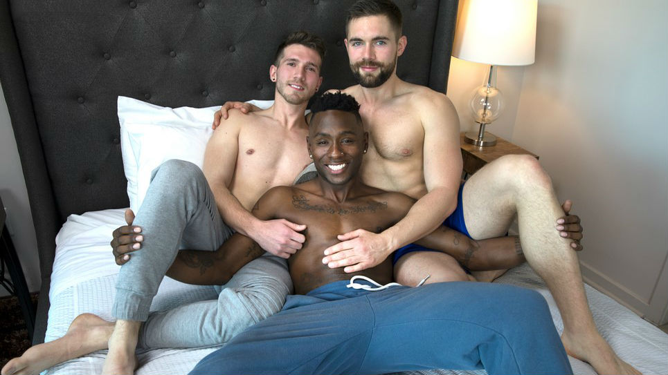 Griffin licked and sucked every inch of Miller and Ash's cocks