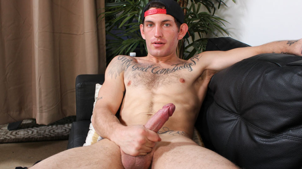Big Saint plays with his big uncut dick