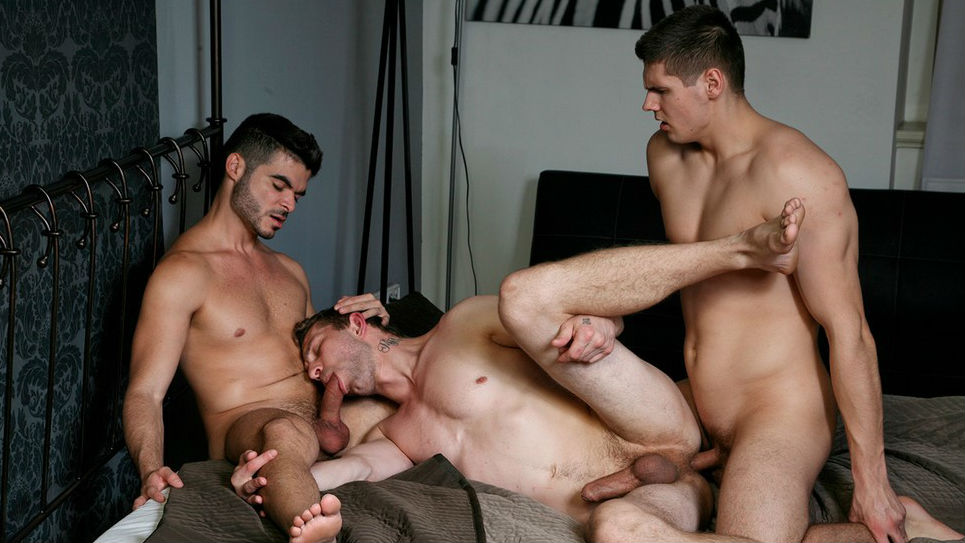 Nikol gives up his ass to Tomas and devours Tonny's cock