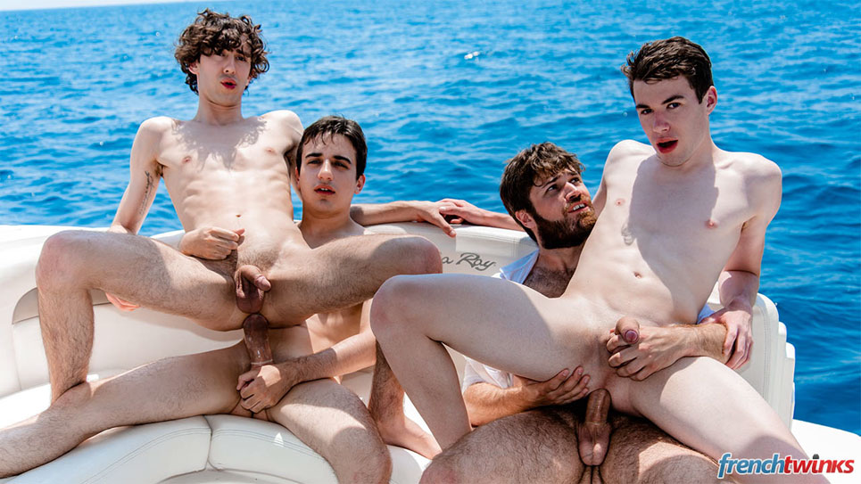Horny French guys have a foursome on a boat