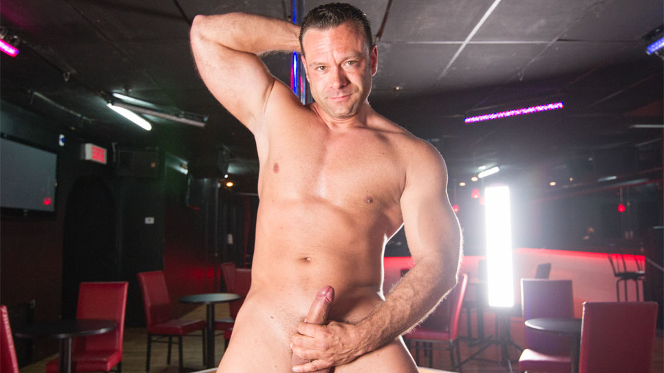 Darcy strokes his uncut cock in a Strip Club update