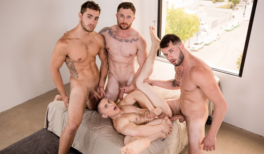 Johnny Hill, Markie More and Carter Woods gangbang Dante Martin