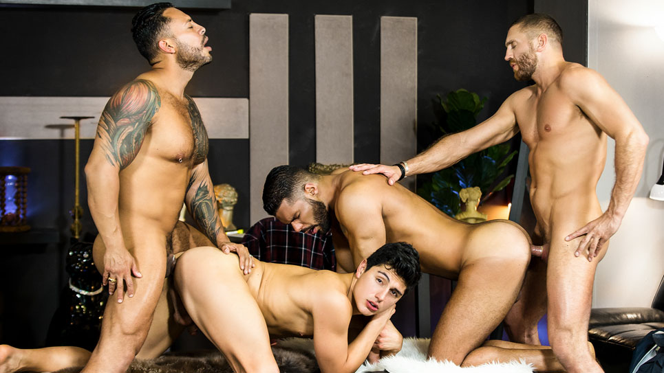 A hot foursome with Viktor Rom, Emir Boscatto, Ken Summers & Lucas Fox