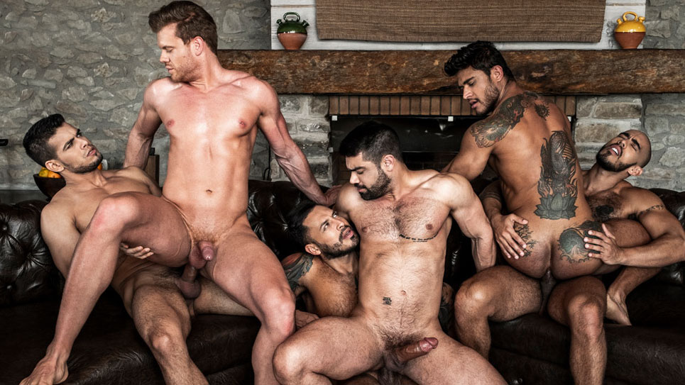 A six-guy bareback orgy from Lucas Entertainment