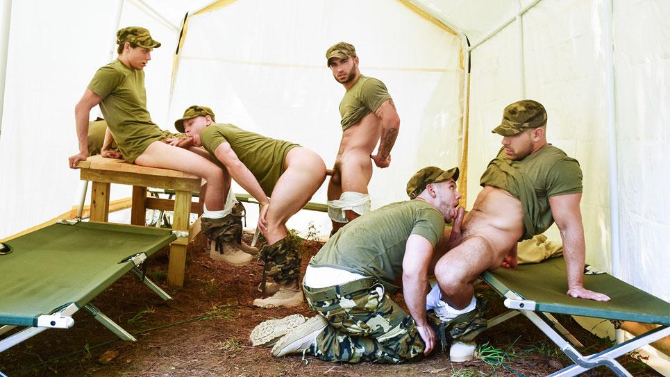 Blaze , Brandon, Damien, Zach and Vadim in an army orgy