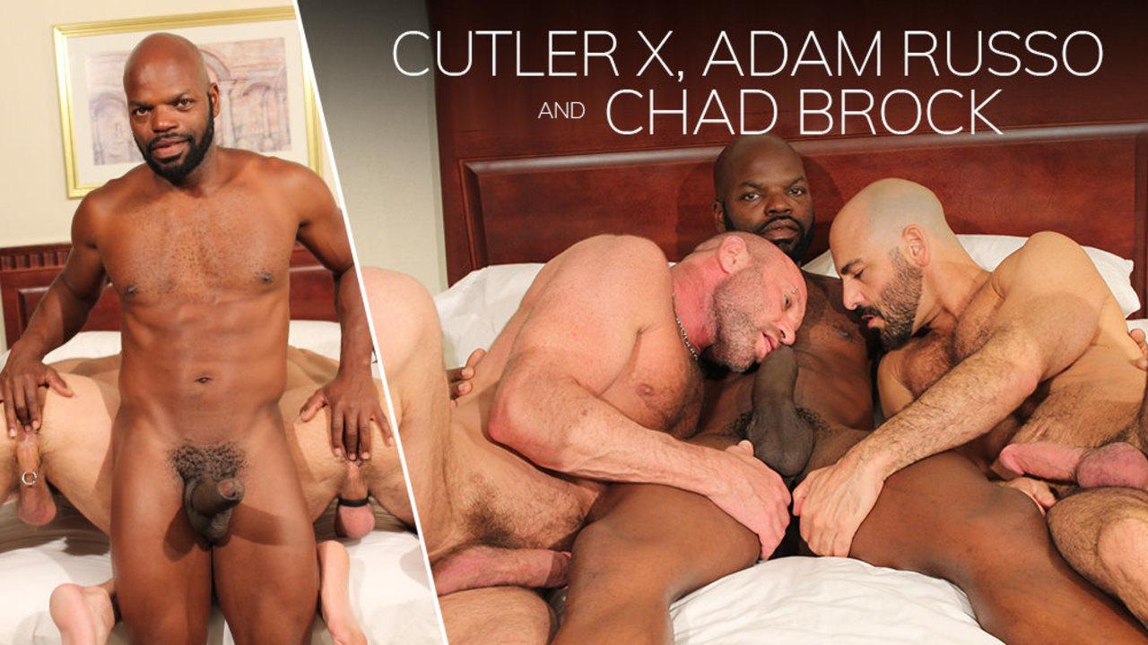 Hung stud Cutler X fucks Adam Russo and Chad Brock