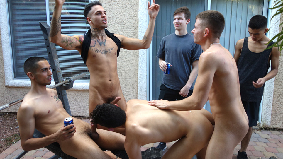 Frat boy gets fucked hard by five guys at Fraternity X