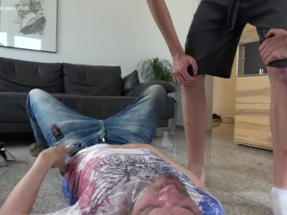 Mature guy worships nasty young Masters